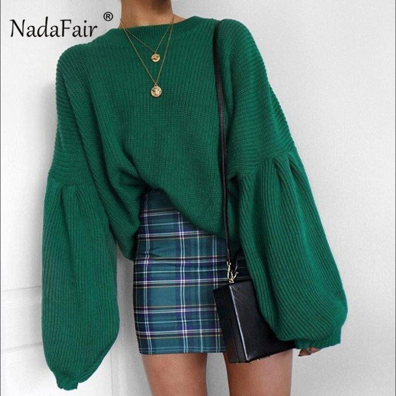 Nadafair Korean Knitted Sweater Jumpers Women Long Lantern Sleeve Loose Casual  Winter Sweater Pullovers Pull Femme Hiver