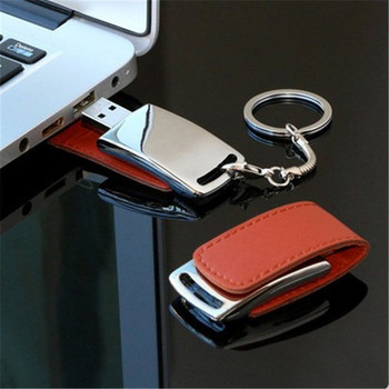 Custom Logo Leather usb flash drive + Key chain PC Leather USB Flash Drives 64G 8GB 16GB 32GB 4GB Memory Sticks Pen Drives gift