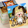 1Pcs Cute Assembled Multicolor Cartoon Animals Toddler 9 Pieces Baby Kids Wooden Jigsaw Puzzle Educational Early Learning Toys