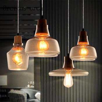 Nordic garden single head glass chandelier coffee shop originality personality bar bar light Postage free
