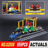 Lepin 02008 959Pcs City Series The Cargo Train Set 60052 Model Remote Control Building Blocks Bricks
