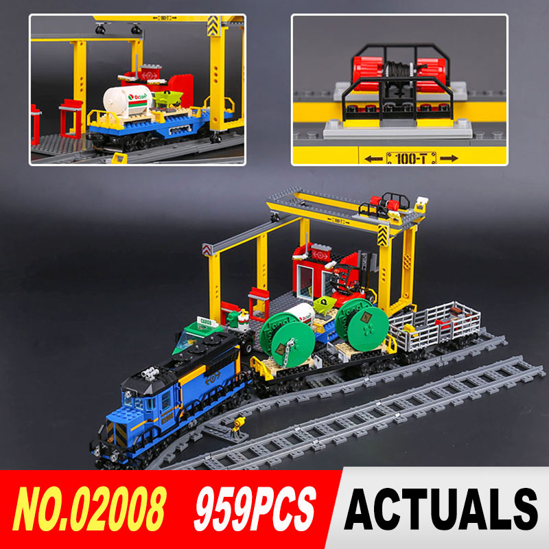 Lepin 02008 959Pcs City Series The Cargo Train Set 60052 Model Remote Control Building Blocks Bricks Toys for Children Gifts lepin 02008 the cargo train 959pcs city series legoingly 60052 plate sets building nano blocks bricks toys for boy gift
