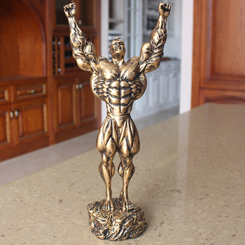 Height 43CM European Creative swing World Cup bodybuilding trophy Fitness muscle male dumbbell Hercules sculpture silver Car