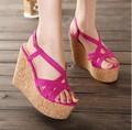 Новый 11 см туфли на каблуках клинья крест ремень сандалии размер 30 31 32 33 41 42 43 sy-1223