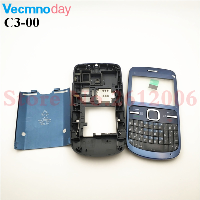 Full Housing For Nokia C3 C3-00 Back Case Battery Cover Front+Middle Frame Keypad C3-00 Replacement Part