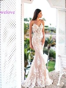 Image 1 - Женское свадебное платье русалка, кружевное платье с длинным шлейфом и аппликацией по индивидуальному заказу, 2020