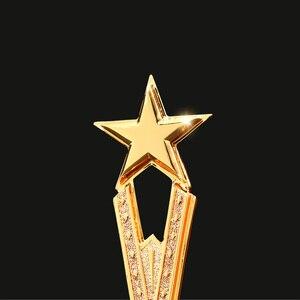 Image 3 - Бесплатная гравировка на заказ блестящая черная основа с кристаллами Золотая Звезда награды