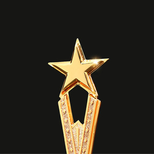 Image 3 - Free Custom Engraving  Shinning Black Crystal Base Golden Star Trophy Awards