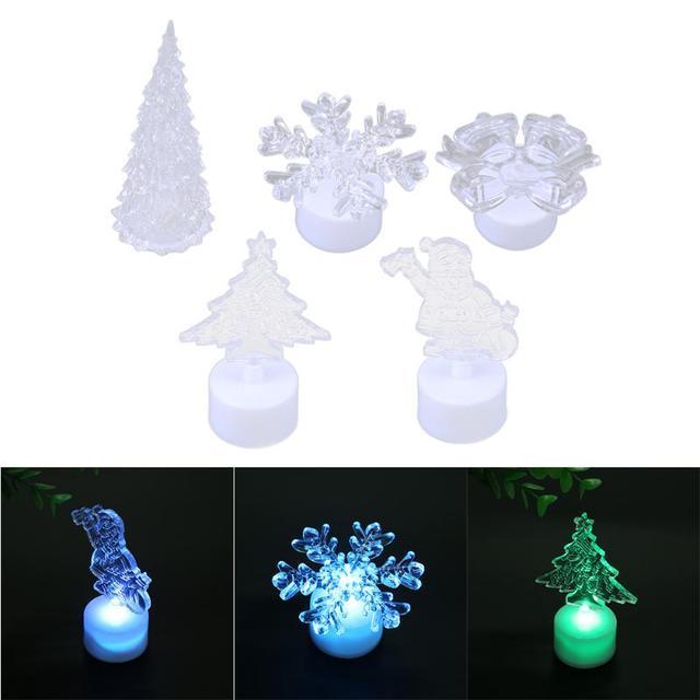 Crystal Acrylic Christmas Tree LED Colorful Night Light Bedroom Living Room Lights Decor Gift Luminous