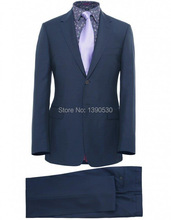 HOT SELLING 100% wool dark blue two buttons notch lapel two pieces( jacket+black )made to measure suits