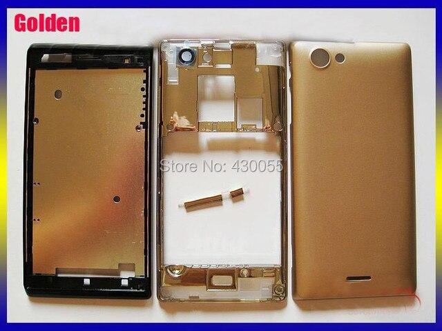 Золотой Цвет 100% Новый Для Sony Ericsson Xperia j ST26i ST26 Полный Полный Крышку Корпуса Чехол + Кнопки Бесплатная Доставка