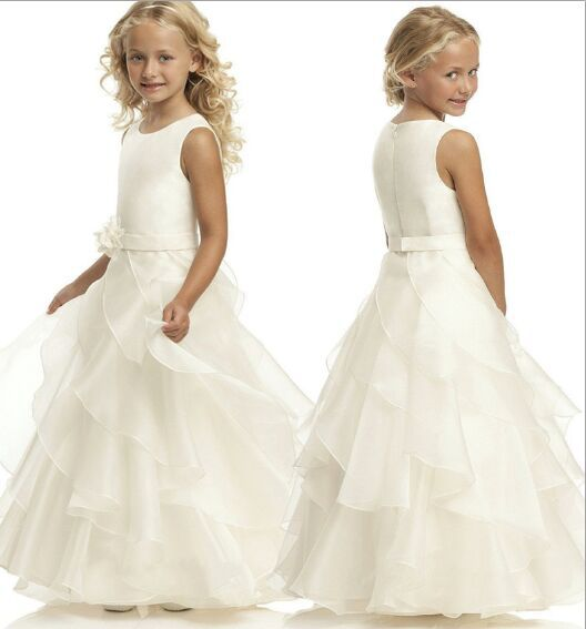 ФОТО Hot Elegant Handmade Flower Belt Fisrt Communion Dress Ankle Length Ivory Zipper Simple Ruffle Flower Girl Dresses for Weddings