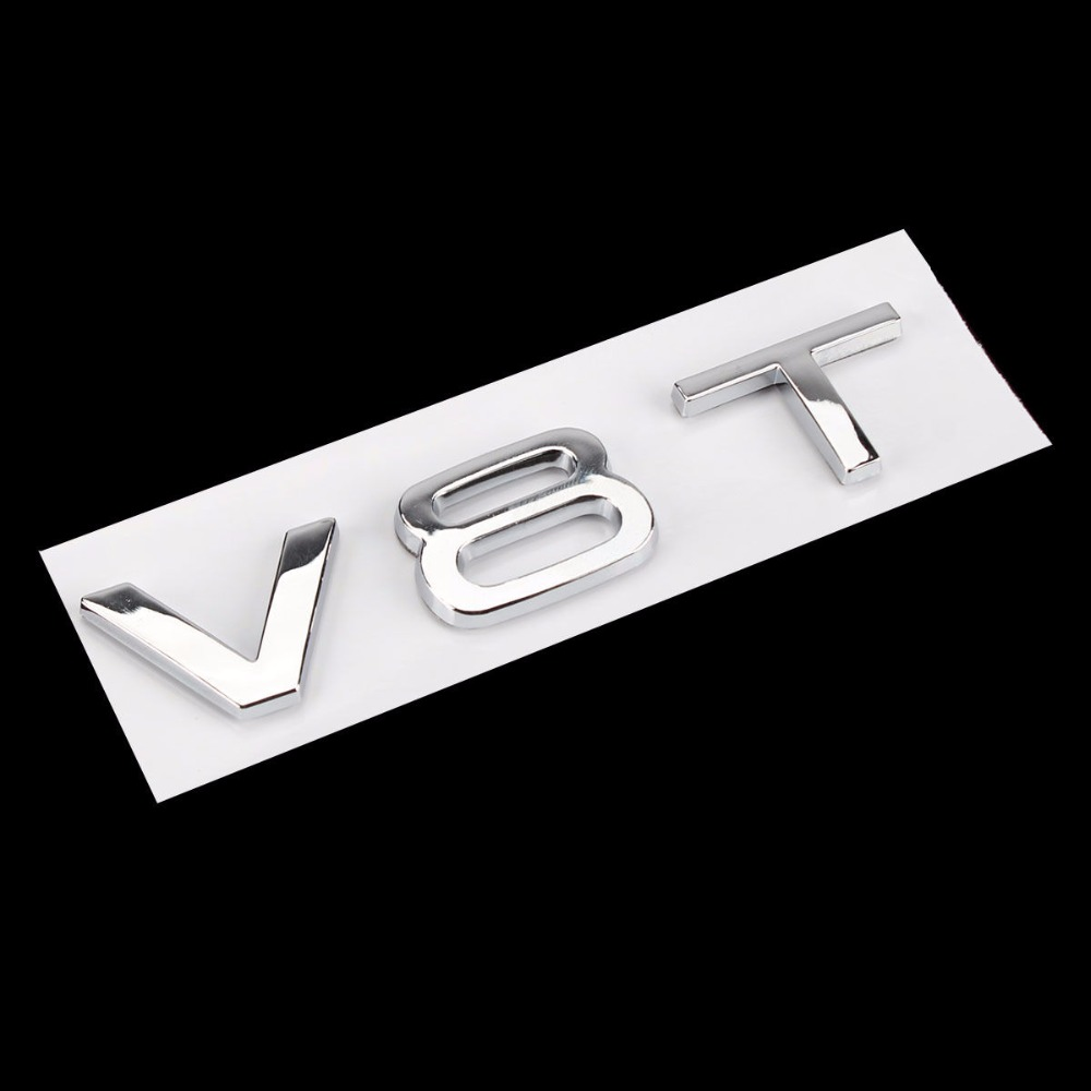 BBQ@FUKA Car Rear Metal V8T Emblem Badge Sticker Silver Styling Fit For Audi A1 A3 A4 A5 A6 A7 Q3 Q5 Q7 S6 S7 S8 S4