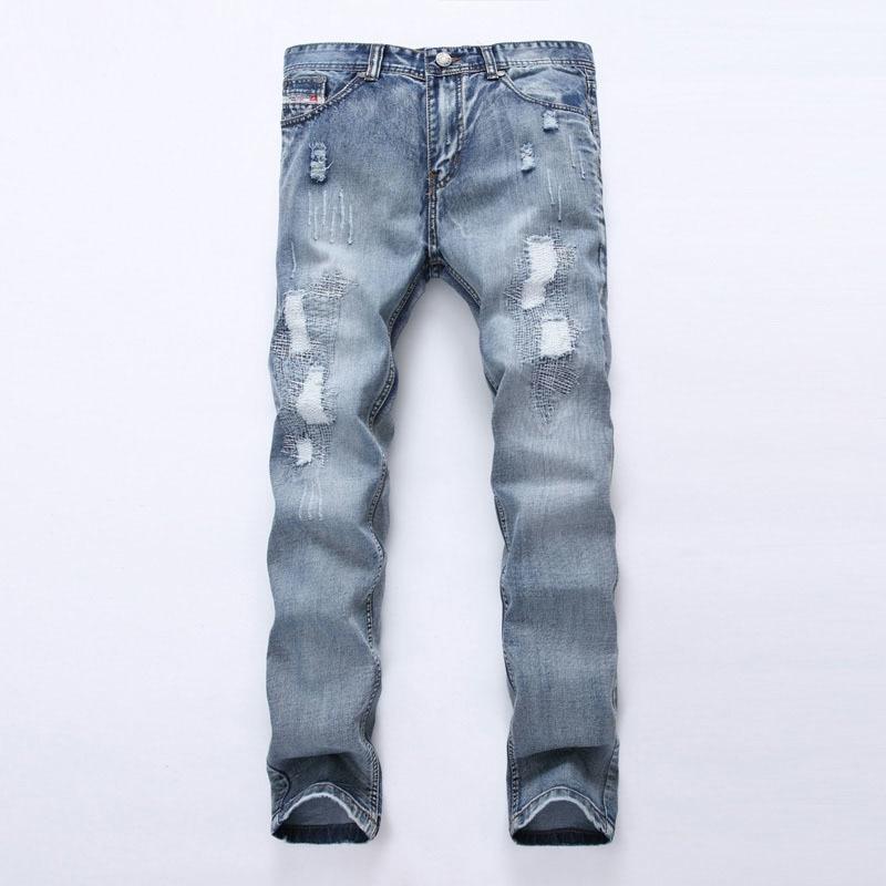 2019 men's wear light blue hole patch   jeans   grinding white body   jeans   fashion personality Men street pants
