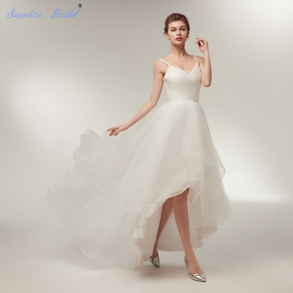 Sapphire Bridal New Arrival Simple High Low Wedding Dress Pleated Top Sexy  Top beach Bridal Gowns