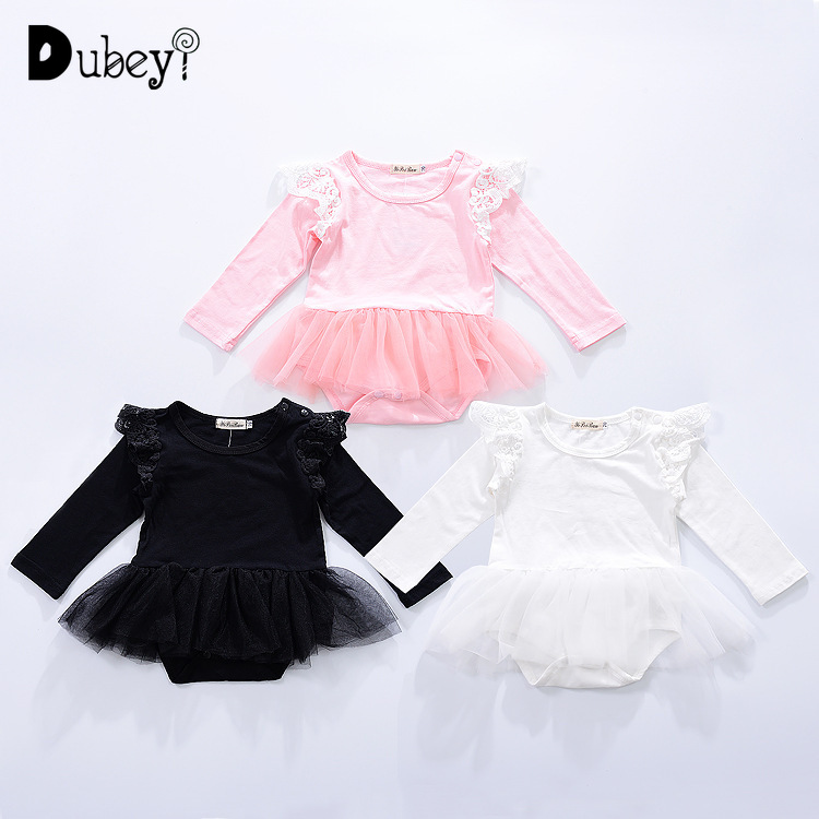 Newborn Onesie Long Sleeve Cotton Babysuits Infant Child Girl Climb Newborn Baby Girl White Bodysuit