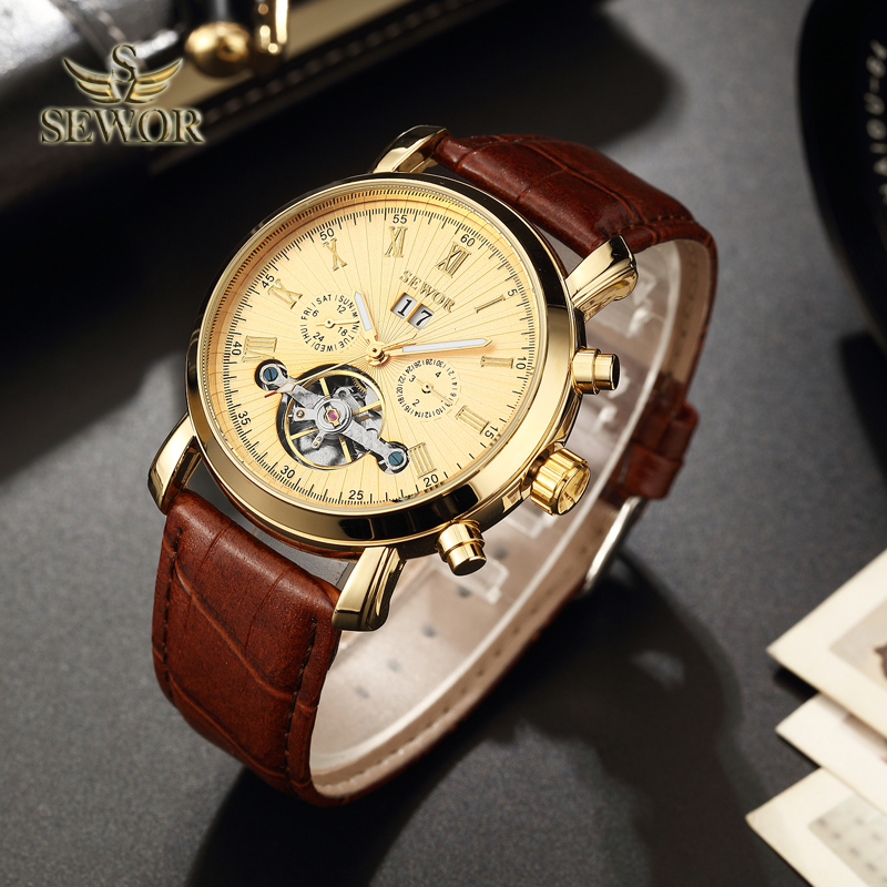 SEWOR Luxury Brand 2018 New Fashion Gold Tourbillon Automatic Mechanical Men Sport Wrist Watch C398 casual new fashion sewor brand skeleton men male military army clock classic luxury gold mechanical hand wind wrist watch gift
