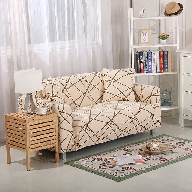 Comwarm Elastic Spandex Polyester Durable Home Sofa Cover Anti Dirty  Geometric Plants Slipcovers All