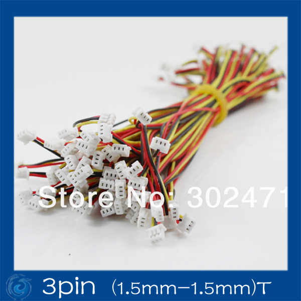 Mini. Micro JST 1.5mm T-1 3-Pin 3Pin Connector W/.Wire X 10 Sets.3pin (1.5mm-1.5mm)T