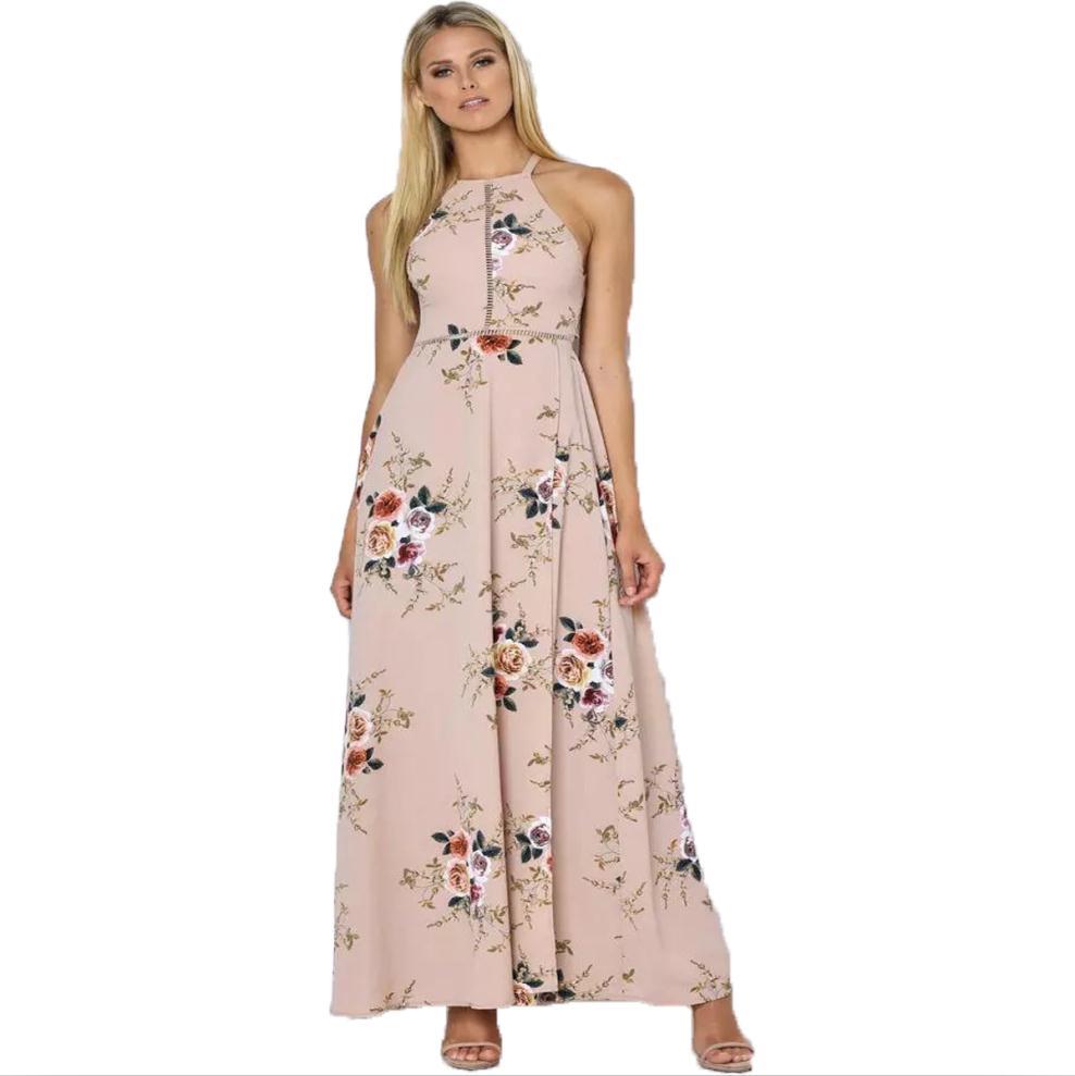 2017 Summer Chiffon Dresses Maxi Vintage Halter Neck Floral Print Beach Dresses BOHO Sexy Split Backless