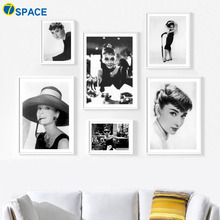 7-Space Classical Canvas Painting Black White Audrey Hepburn Wall Art Posters And Prints Pictures Living Room Study Decor