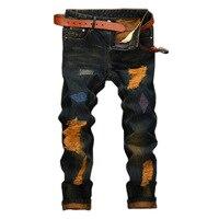 2017 Hot Sale Vintage Style Baggy Ripped Jeans For Men Slim Straight Designer Denim Biker Jeans Mens Cool Clothing Wholesale