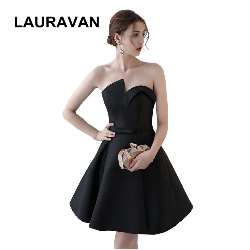 strapless satin summer bow short sweetheart size 2 girls elegant formal satin   cocktail     dress   black women ball gown for teen
