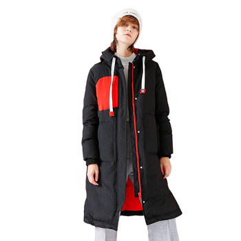 Toyouth Winter Warm Parkas Jacket Women's Big Pocket Patchwork Long Sleeve Hooded Parkas Female Snow Outwear Long Jacket Coat