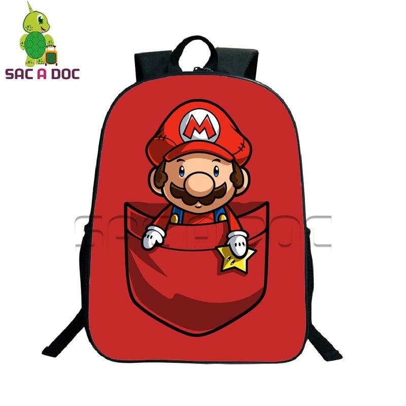 9ac4d650d96a Cartoon Pocket Super Mario Backpack School Backpack for Teenagers Kids  School Bags Funny Mario Luigi Prints