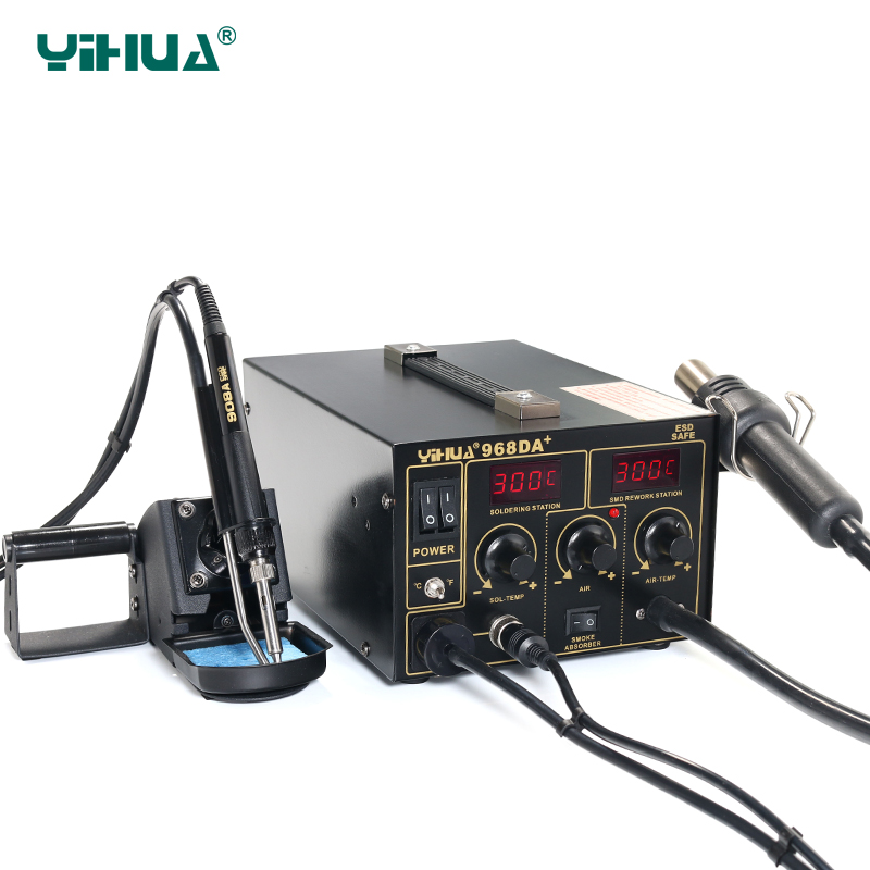 цены  YIHUA 968DA+ Hot Air Repair Rework Station With Digital SMD Soldering Iron Tip