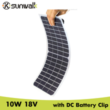 SUNWALK Semi-flexible 10W 18V Mono Solar Panel Charger with DC Crocodile Clip Transparent Solar Car Charger 12V Battery