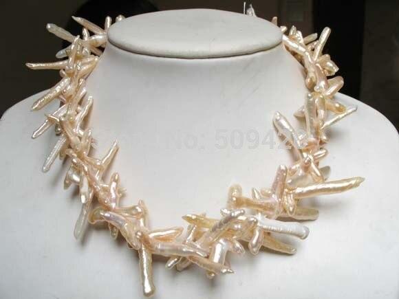 ~ ~ Livraison Gratuite blanc perle 35mm croix biwa perle perles collier