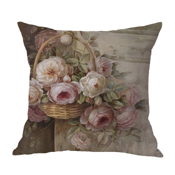 Hermosa flor de lino pintura floral funda de cojín decorativa sofá silla Funda de cojín coche hogar Decoración Para sala de estar