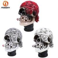 POSSBAY Red/Gray/White Cap Gear Shift Knob Carved Skull Universal Car Gear Stick Shift Knob Cover Interior Decoration