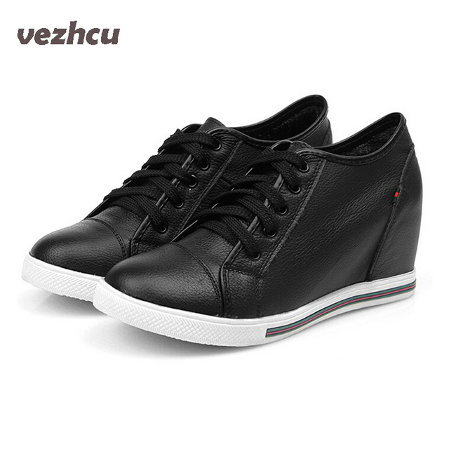 VZEHCU Women Shoes Lace up Genuine Leather Height Increasing Platform Wedge Shoes High Heels Wedges Shoes Woman 5c204