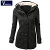 Kobiety Trench Coat 2018 wiosna jesień damskie płaszcz damski długi Bluza z kapturem Zipper róg przycisk Outwear