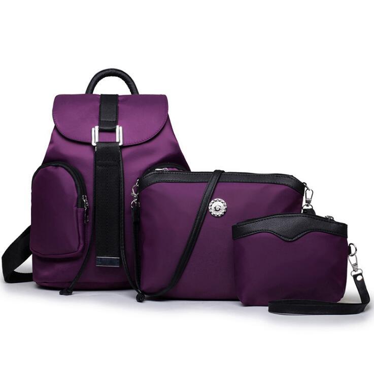 New Luxury Purple Nylon Handbags 3 Pcs Composite Bags Set Women Shoulder Crossbody Messenger Bag Lady