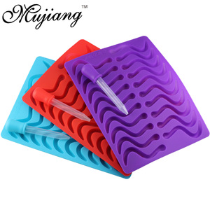 Image 2 - Mujiang 20 Cavity Silicone Gummy Snake Wormen Chocolade Schimmel Suiker Candy Jelly Mallen Ice Tube Tray Mold Cake Decorating Gereedschap