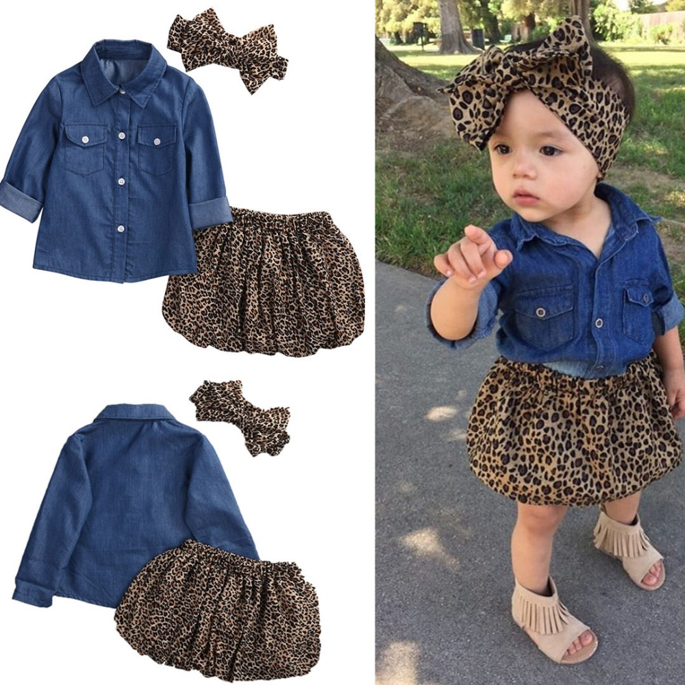 3Pcs Toddler Kids Baby Girl Clothing Denim Shirt Long Sleeve Leopard Skirt Headband Fashion Children Outfits Clothes Set 1-5T(China)