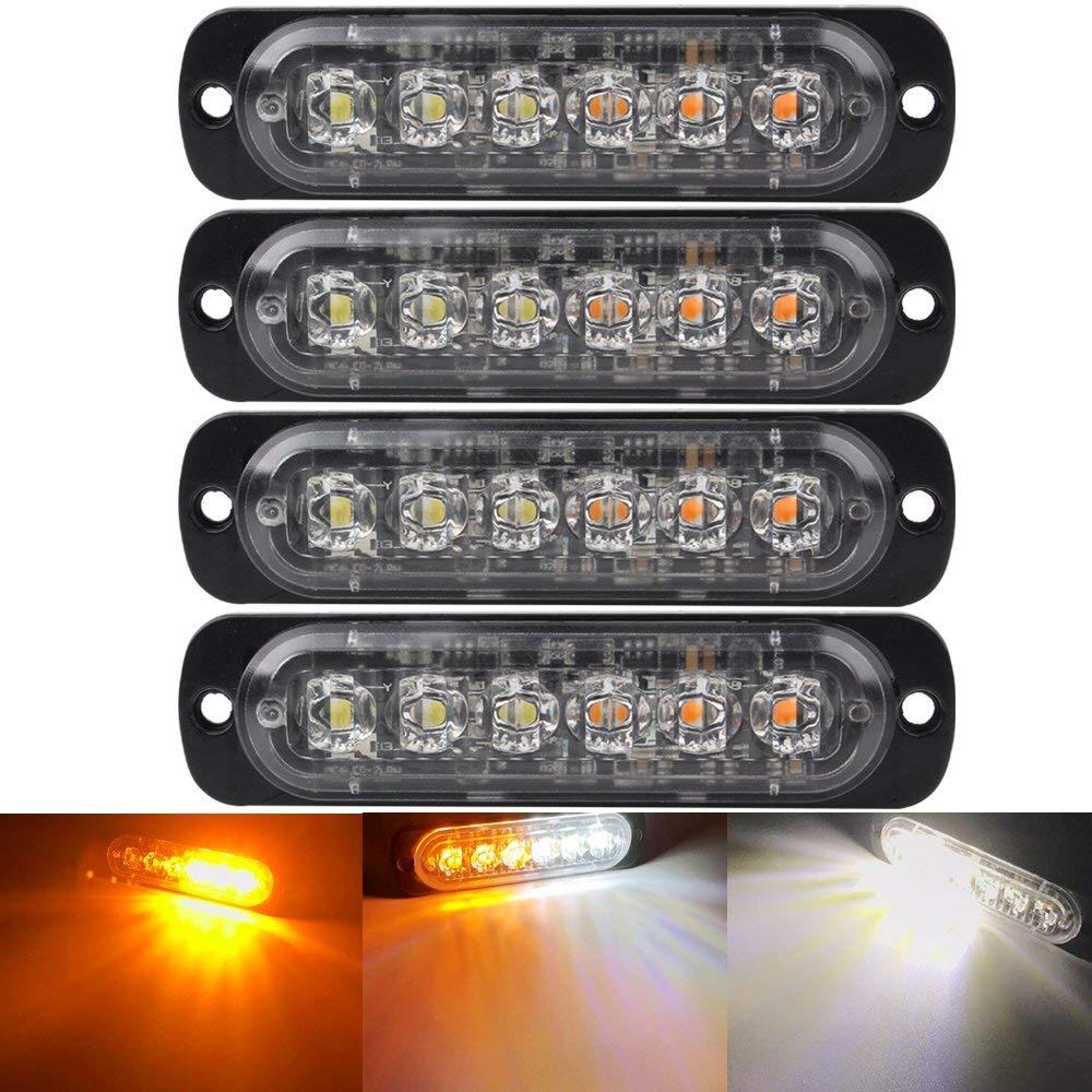 6 LED Light Bar Flash Emergency Car Vehicle Warning Strobe Flashing Yellow Amber