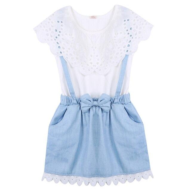 c571efd29 Niñas verano Vestidos nueva moda Niñas vaquero corto arco de algodón bebé  niños Niñas ...