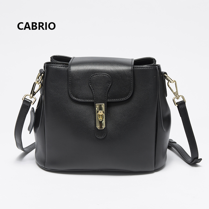 CABRIO Smooth Genuine Leather Women Messenger bags Female Crossbody Bags Flap Lock Small Bucket Bags For Women Multi Pockets cabrio casual women crossbody bags patchwork genuine leather flap small messenger bags for ladies women clutch bag metal button