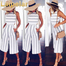 Laipelar 2018 Womens Sleeveless Striped Jumpsuit Casual Loose Trousers Fashionable Wide Leg Catsuit Combinaison Pants Rompers