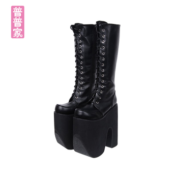 Princess sweet punk shoes Japanese summer and spring round head boots COS anime punk super high heel frill muffin boots pu9712