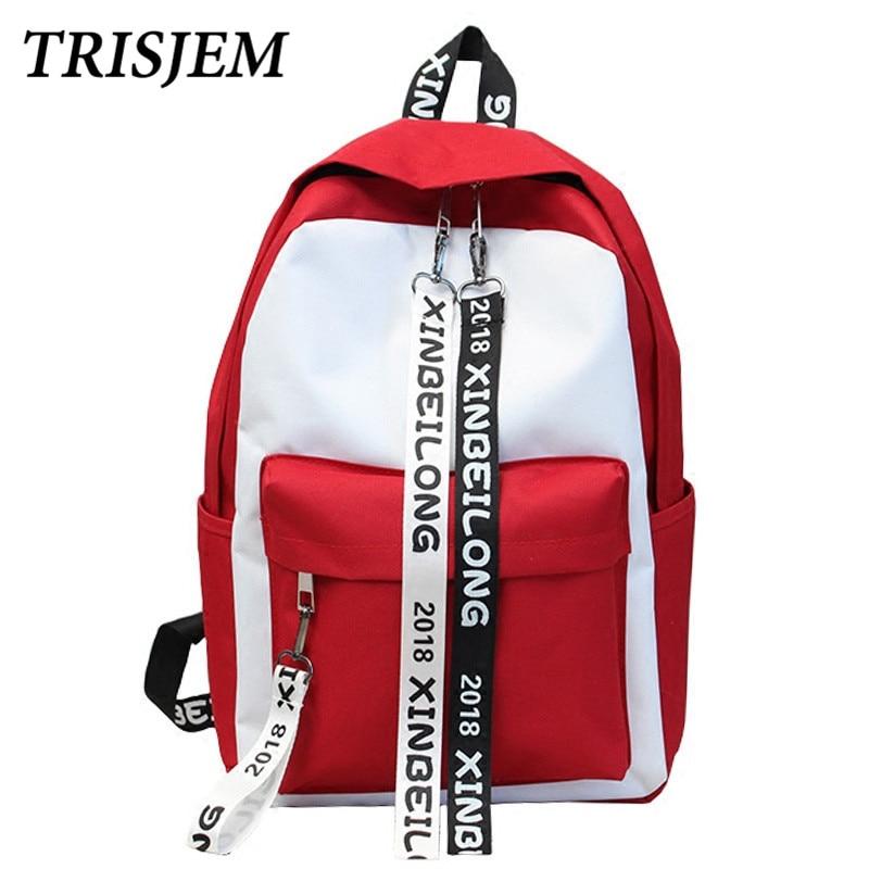TRISJEM Ulzzang Backpack Harajuku bag women Canvas Backpack School Back Pack Female Backpacks For Teenage Girls Mochila Feminina