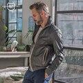 ANDREW MARC Cuero Genuino Capa de la chaqueta de Bombardero de La Motocicleta Delgado Primavera Otoño Delgados pantalones Cortos de Moda de Marca Abrigo de Cuero Real TM6A1007