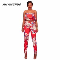 JINYINGHUO 2017 New Elegant Sexy Beach Holiday Jumpsuits Overalls Ruffle Off Shoulder Two Piece Romper Floral