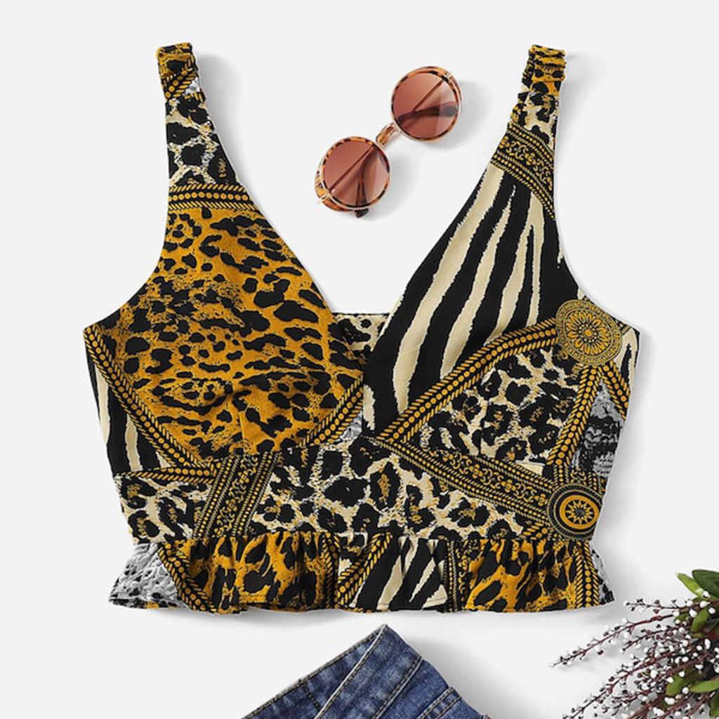Sexy léopard imprimé haut court femmes décontracté col en v profond volants ourlet volanté Trops débardeur gilet Streetwear Gilrs chauds haut court @ 30