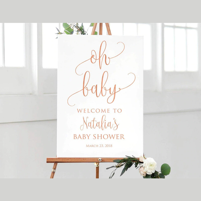 Welcome To Baby Shower Custom Baby Shower Sign Welcome Plaque For Baby Sign Calligraphy Large Welcome Sign No Stand Party Direction Signs Aliexpress