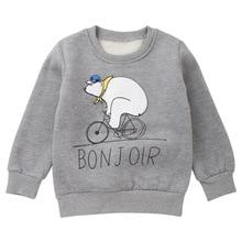 2018 Autumn Winter Cartoon Bear Boy Sweatshirt Cotton Thick Boys Hoodies Children Top Pullover Kids Outwear